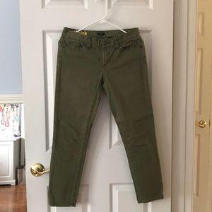 J Crew Olive toothpick jeans